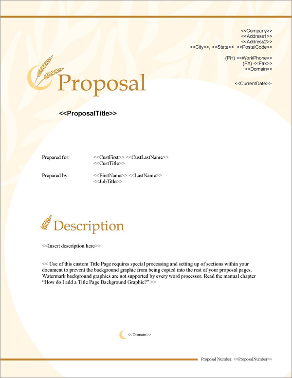 Proposal Pack Agriculture #2 Title Page
