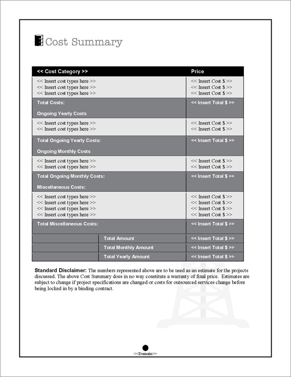 Proposal Pack Energy #8 Cost Summary Page