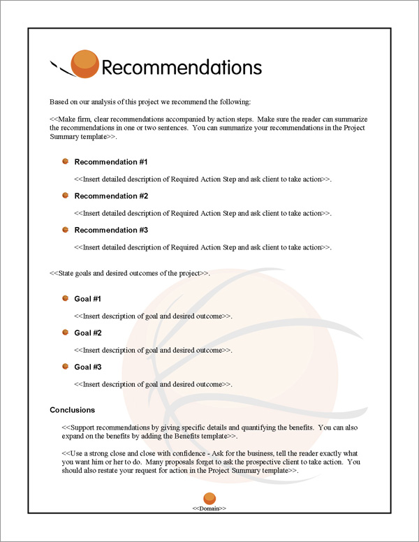 Proposal Pack Sports #5 Recommendations Page