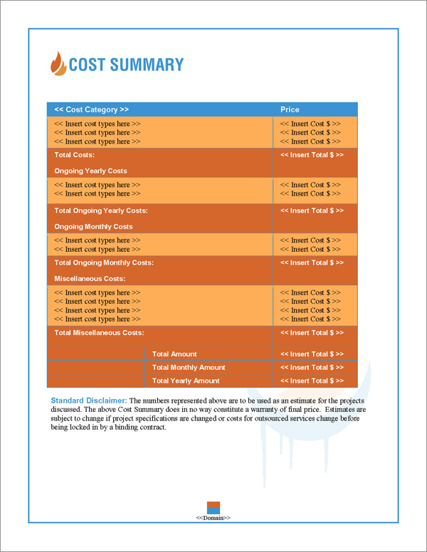 Proposal Pack HVAC #1 Cost Summary Page