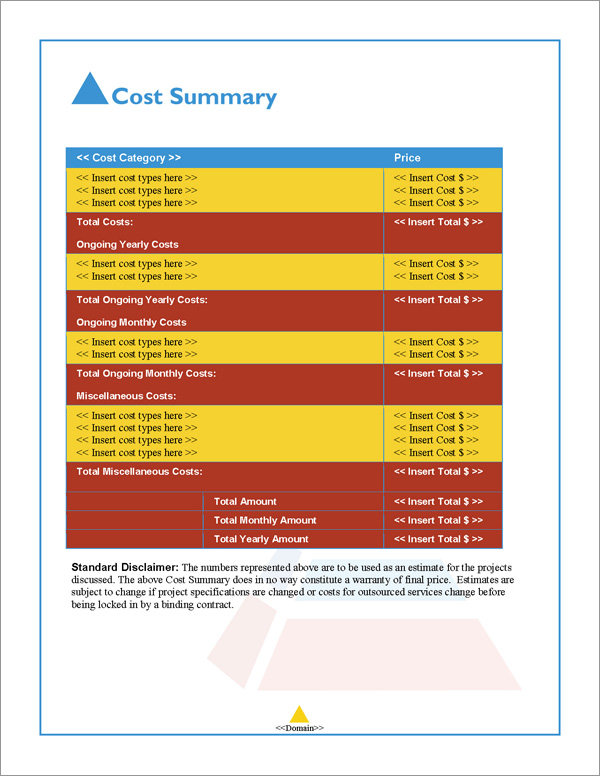 Proposal Pack Artsy #6 Cost Summary Page