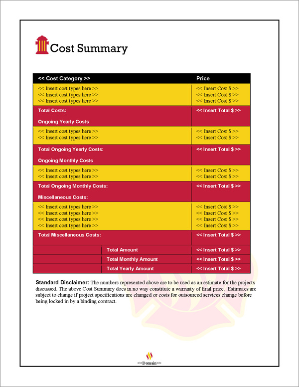 Proposal Pack Safety #2 Cost Summary Page