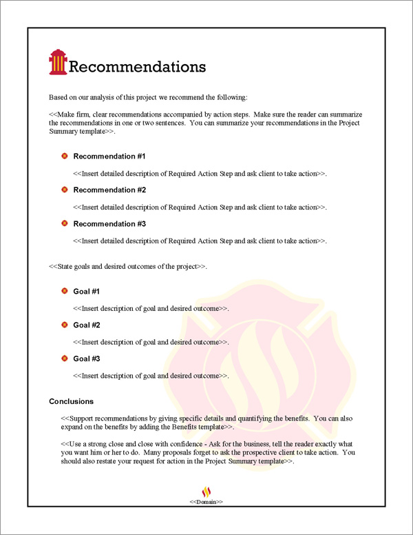 Proposal Pack Safety #2 Recommendations Page