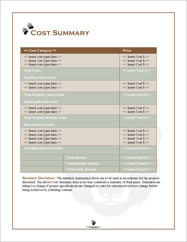 Proposal Pack Animals #3 Cost Summary Page