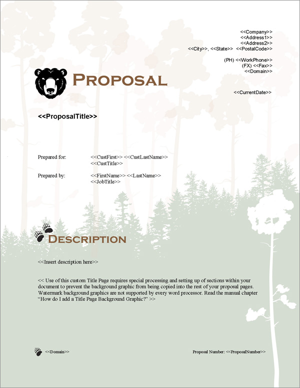 Proposal Pack Animals #3 Title Page