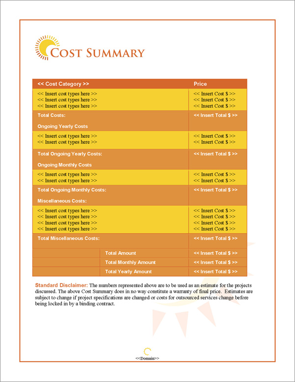 Proposal Pack Outdoors #2 Cost Summary Page