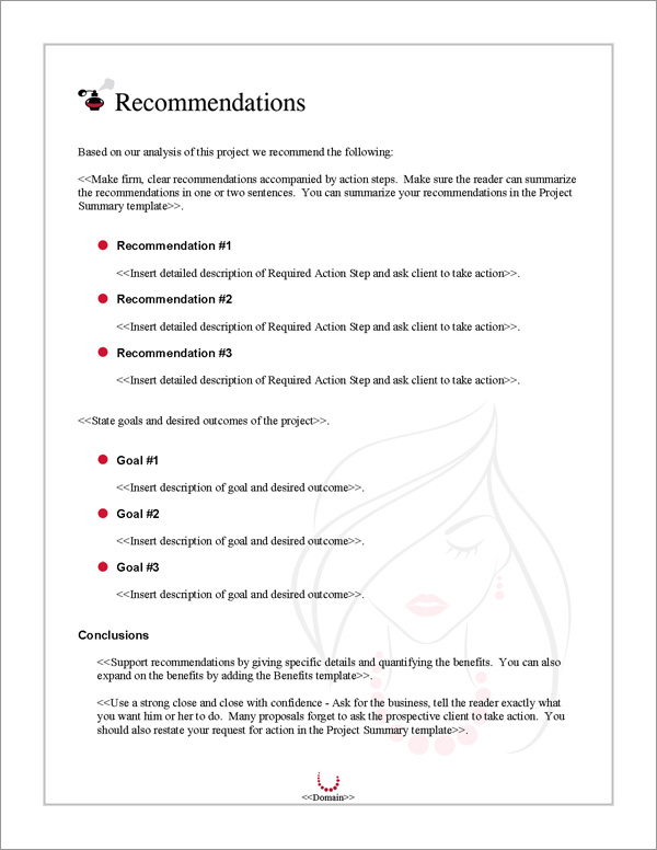 Proposal Pack Fashion #3 Recommendations Page