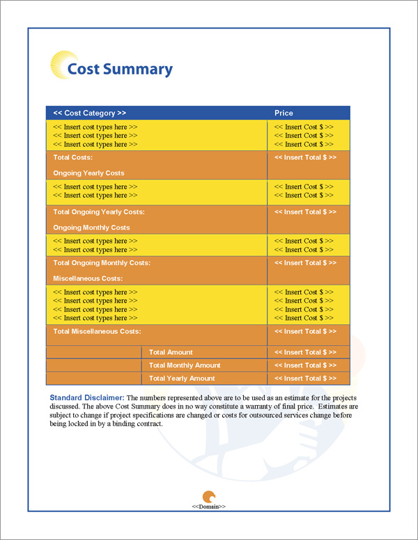 Proposal Pack Industrial #2 Cost Summary Page