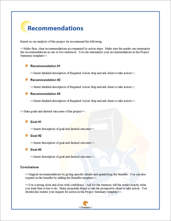 Proposal Pack Industrial #2 Recommendations Page