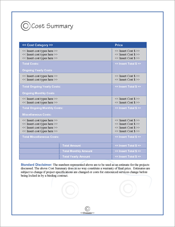 Proposal Pack Transportation #4 Cost Summary Page