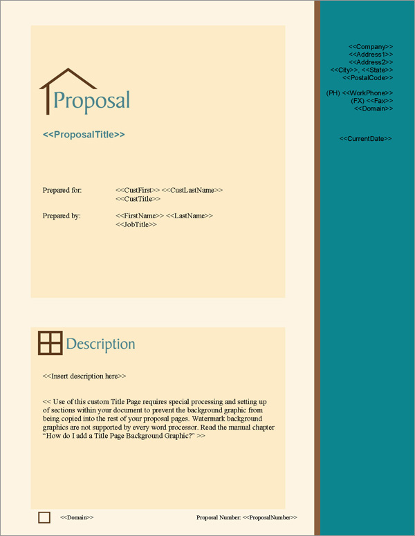 Proposal Pack Architecture #2 Title Page
