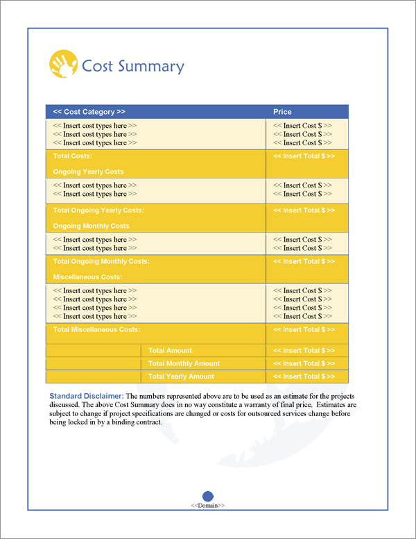 Proposal Pack Children #2 Cost Summary Page