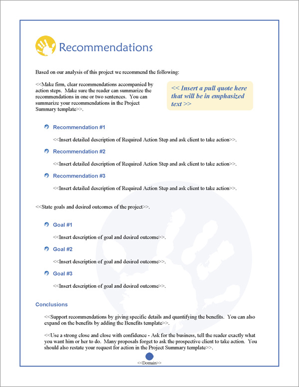 Proposal Pack Children #2 Recommendations Page