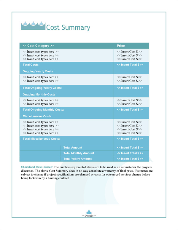 Proposal Pack Aqua #4 Cost Summary Page