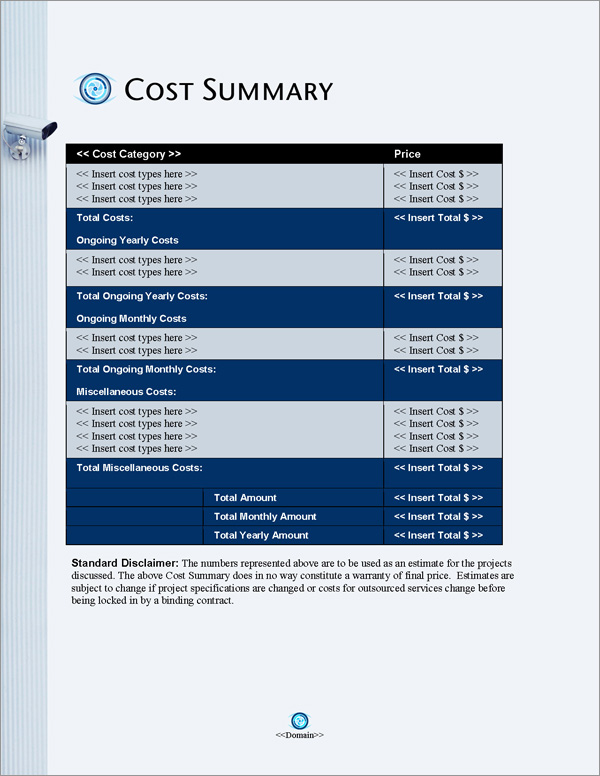 Proposal Pack Security #8 Cost Summary Page