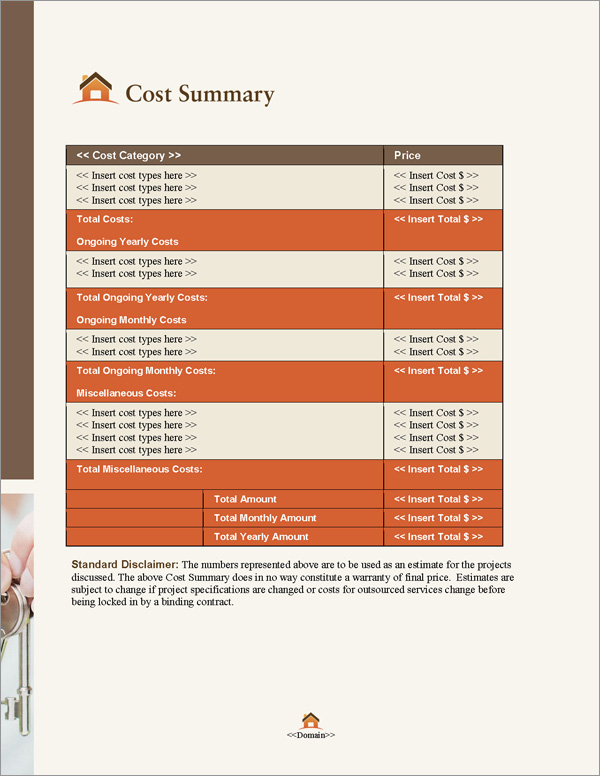 Proposal Pack Real Estate #5 Cost Summary Page