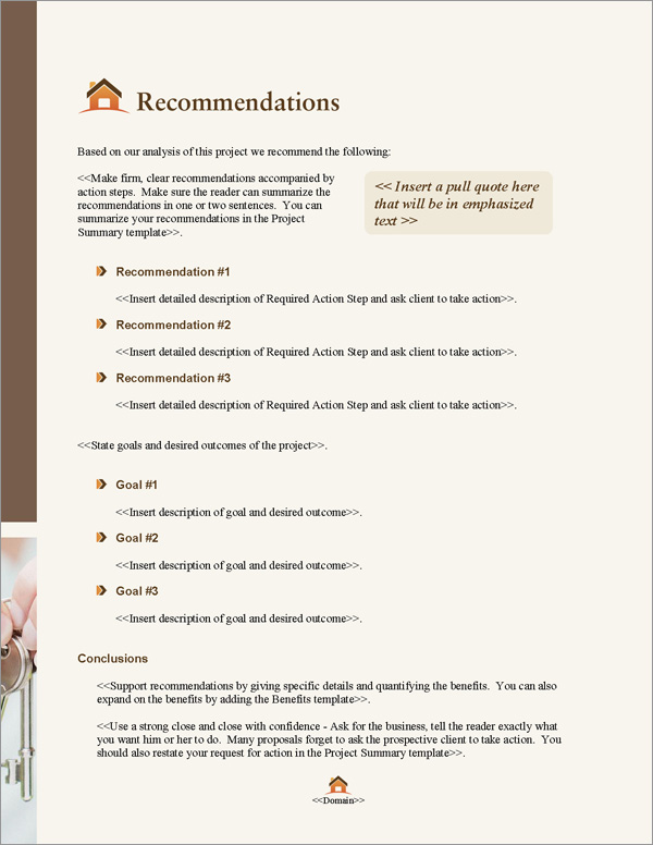 Proposal Pack Real Estate #5 Recommendations Page