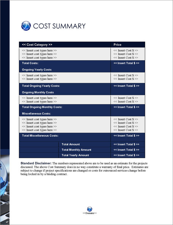 Proposal Pack Global #4 Cost Summary Page