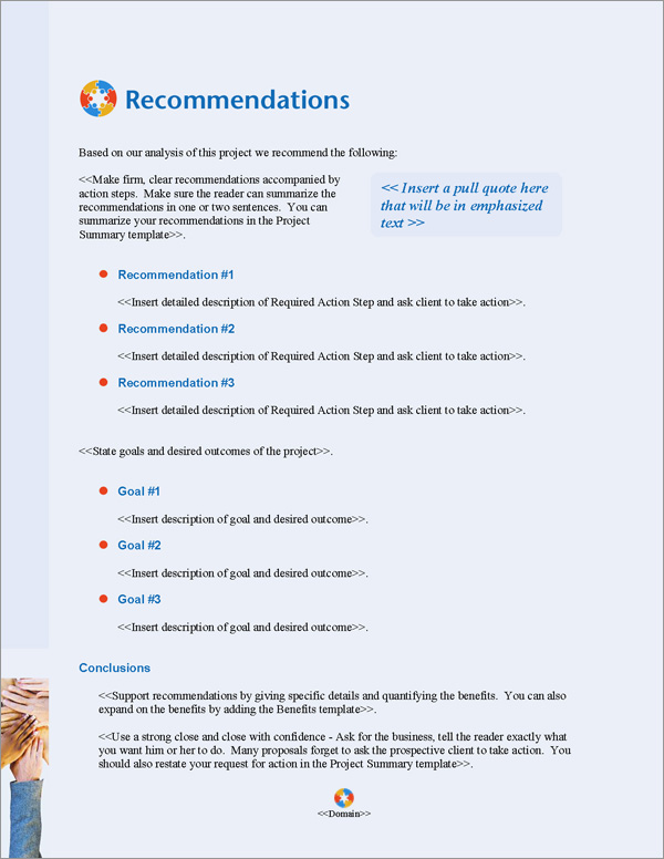 Proposal Pack People #4 Recommendations Page