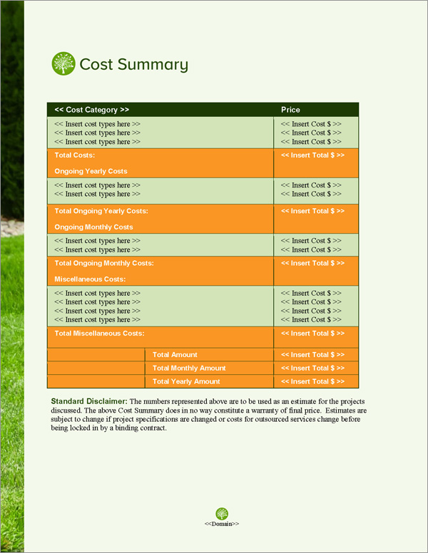 Proposal Pack Lawn #3 Cost Summary Page