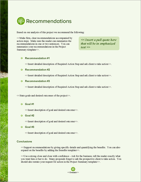 Proposal Pack Lawn #3 Recommendations Page