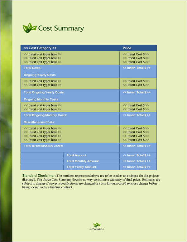 Proposal Pack Environmental #4 Cost Summary Page