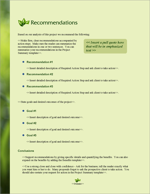 Proposal Pack Environmental #4 Recommendations Page