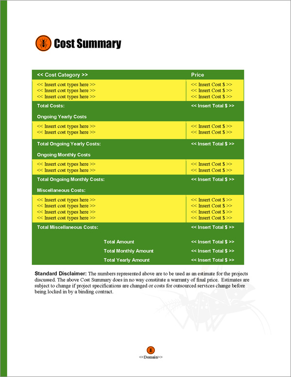 Proposal Pack Pest Control #2 Cost Summary Page