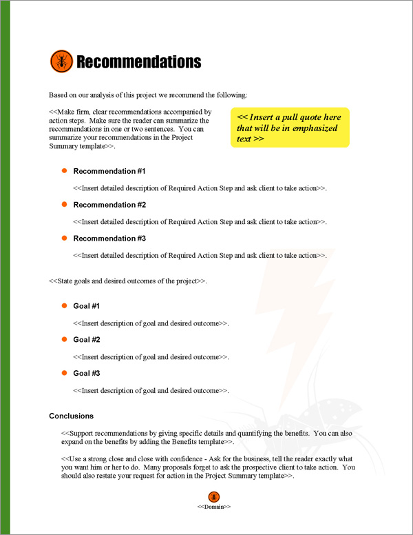 Proposal Pack Pest Control #2 Recommendations Page