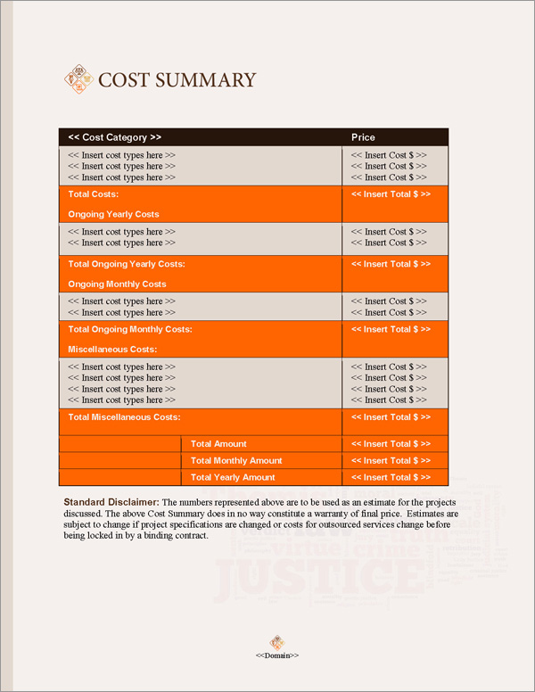 Proposal Pack Justice #2 Cost Summary Page