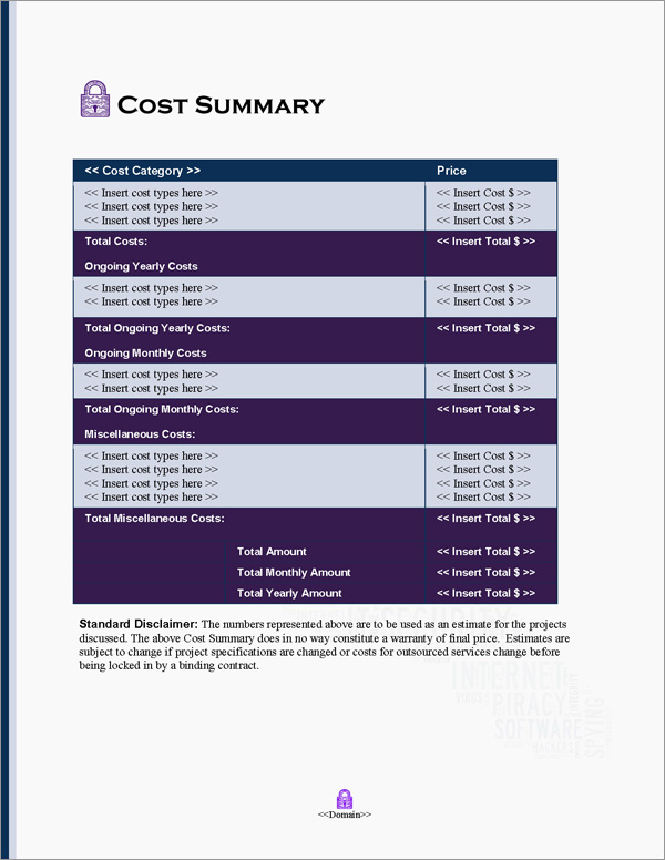 Proposal Pack Security #10 Cost Summary Page