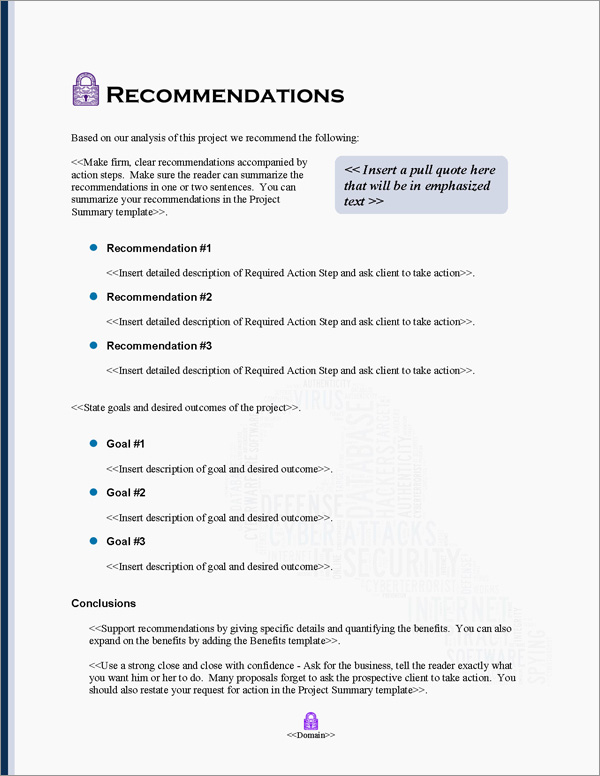 Proposal Pack Security #10 Recommendations Page