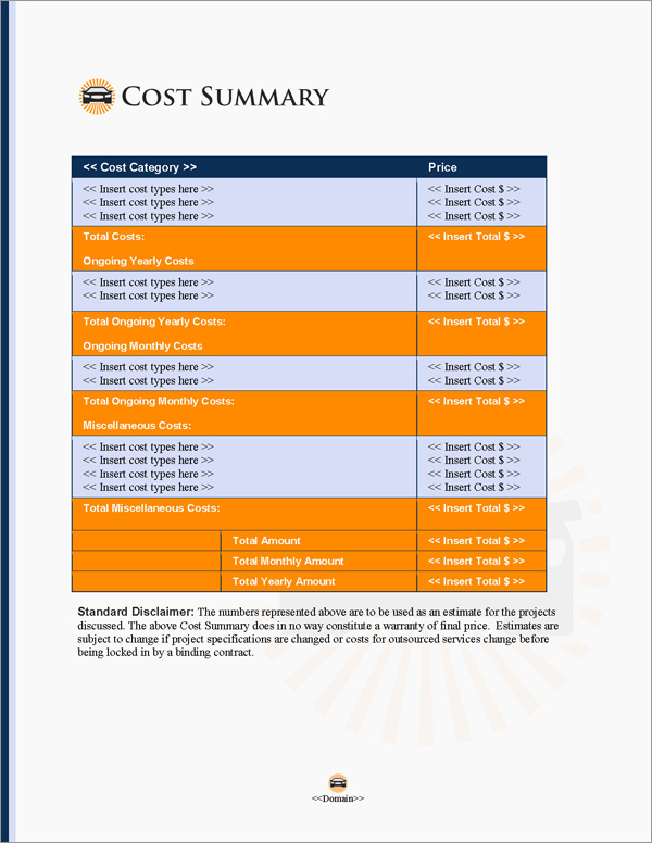 Proposal Pack Transportation #6 Cost Summary Page