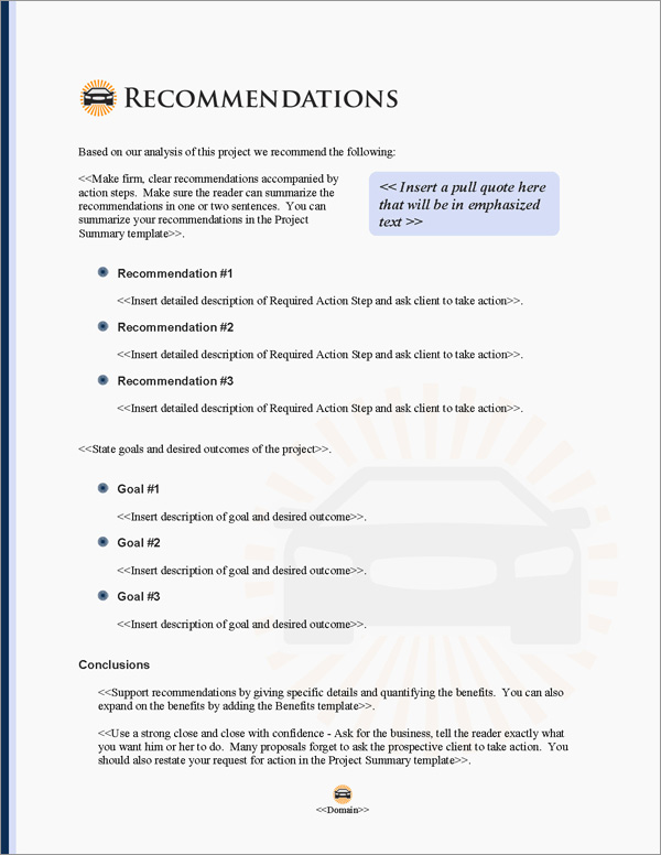 Proposal Pack Transportation #6 Recommendations Page