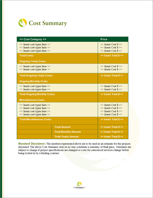 Proposal Pack Agriculture #4 Cost Summary Page