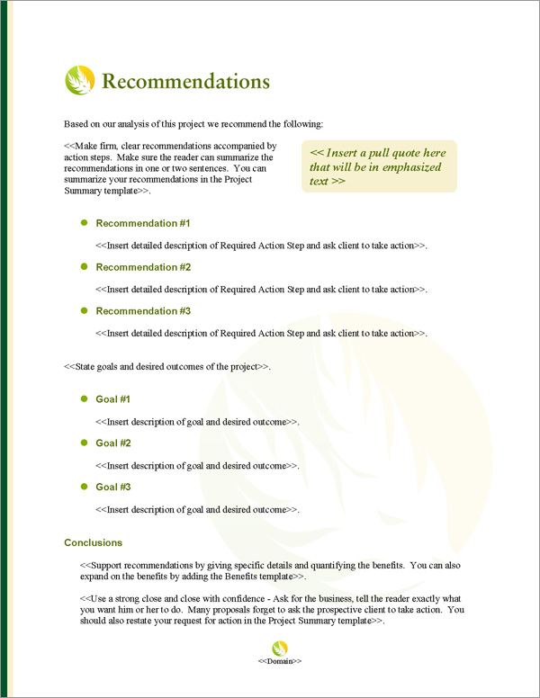 Proposal Pack Agriculture #4 Recommendations Page
