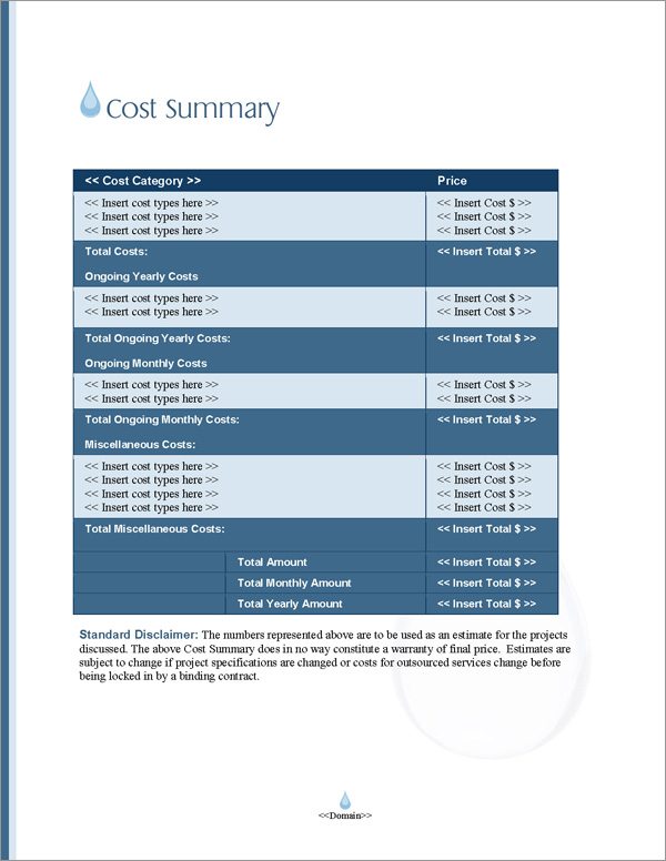 Proposal Pack Aqua #5 Cost Summary Page