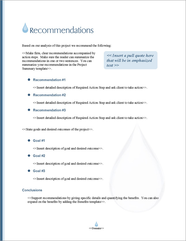 Proposal Pack Aqua #5 Recommendations Page