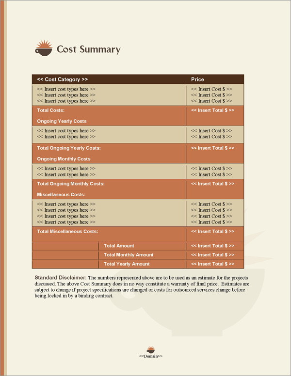 Proposal Pack Food #4 Cost Summary Page