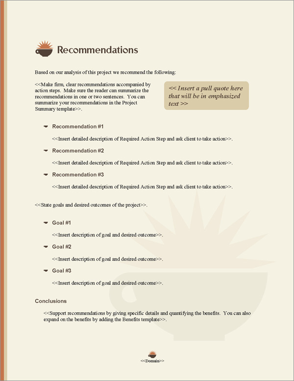 Proposal Pack Food #4 Recommendations Page