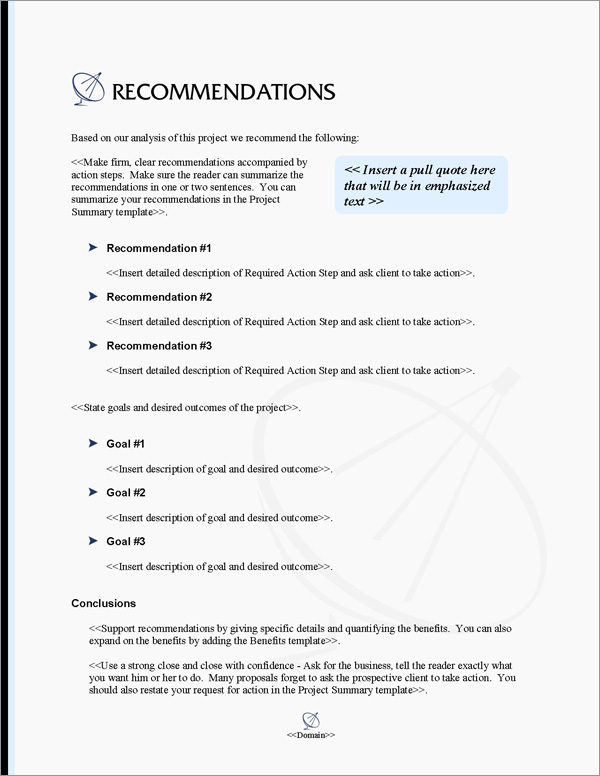 Proposal Pack Telecom #4 Recommendations Page