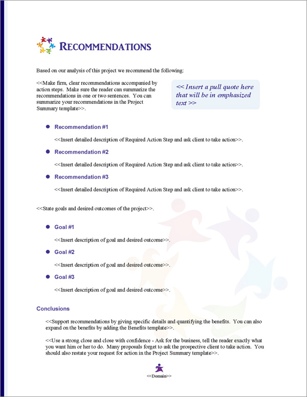 Proposal Pack Children #3 Recommendations Page
