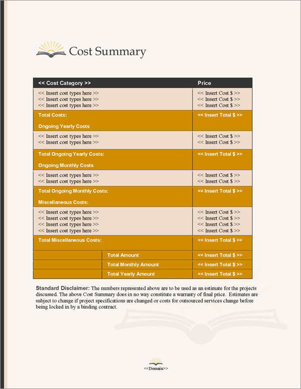 Proposal Pack Books #3 Cost Summary Page