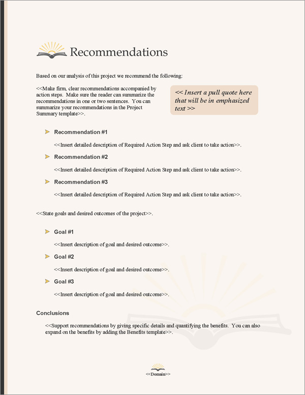 Proposal Pack Books #3 Recommendations Page