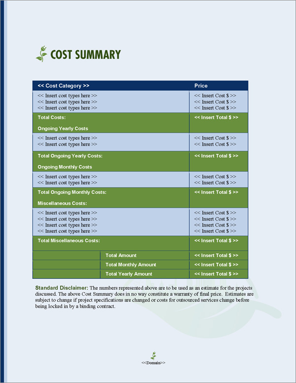 Proposal Pack Resources #3 Cost Summary Page