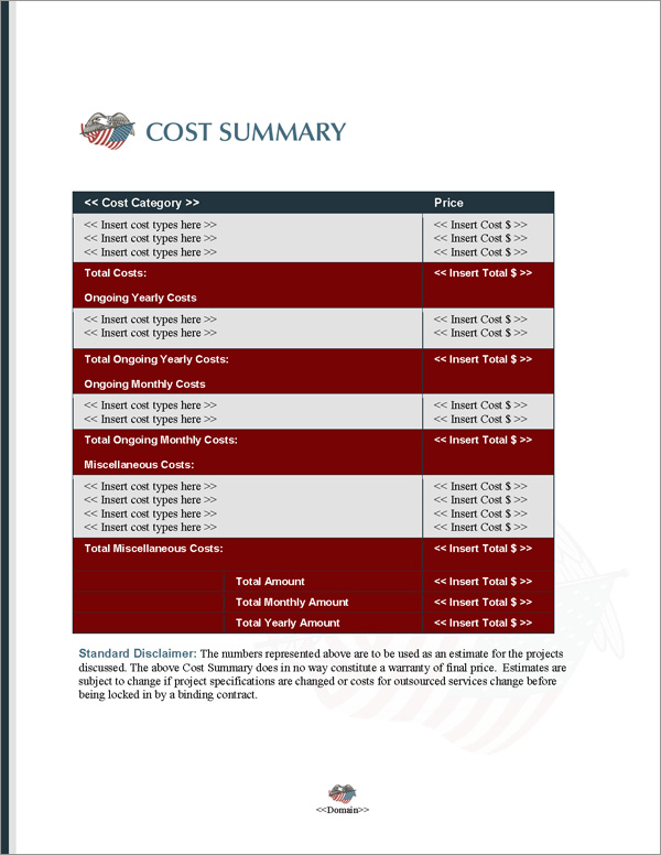Proposal Pack Military #5 Cost Summary Page