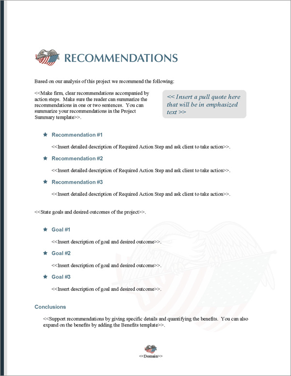Proposal Pack Military #5 Recommendations Page