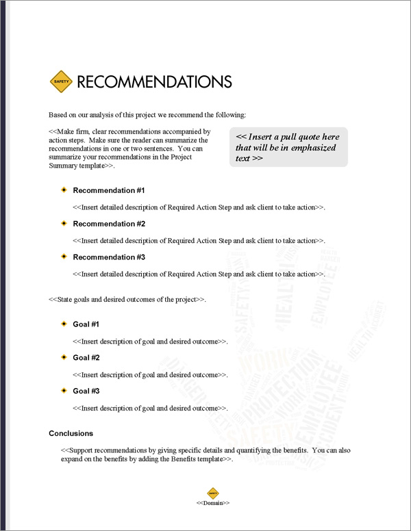Proposal Pack Safety #4 Recommendations Page