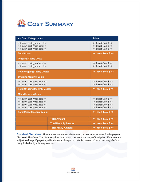 Proposal Pack Infrastructure #2 Cost Summary Page
