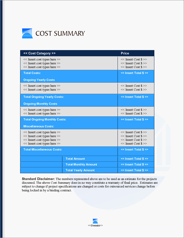 Proposal Pack Infrastructure #3 Cost Summary Page